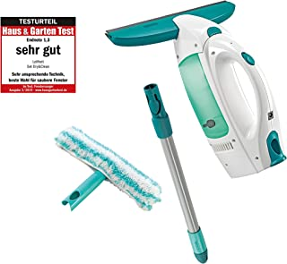 Leifheit Window Vacuum Cleaner Dry&Clean, with Handle and Window Washer, Window Cleaner, Battery-Powered Window Cleaner, 51003