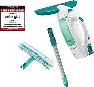 Leifheit Set aspirador limpiacristales Dry & Clean con palo y limpiaventanas para una limpieza 360º sin marcas, aspiradora vertical con 35 min de autonomía