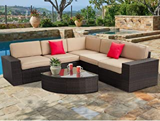 SUNCROWN Outdoor Furniture 6-Piece Patio Sofa and Wedge Table Set, All-Weather Brown Wicker with Washable Seat Cushions and Glass Coffee Table, Waterproof Cover