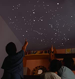 Kit of 270 fluorescent STARS + STENCIL of 2 m². EXACT REPRODUCTION OF THE SKY +2 MAPs with indications. Astronomy on ceiling or wall. Phosphorescent stickers. Glow in the dark stars