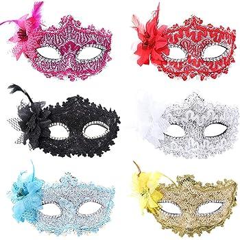 Máscara veneciana de plumas para mujer, máscara de ojos para ...