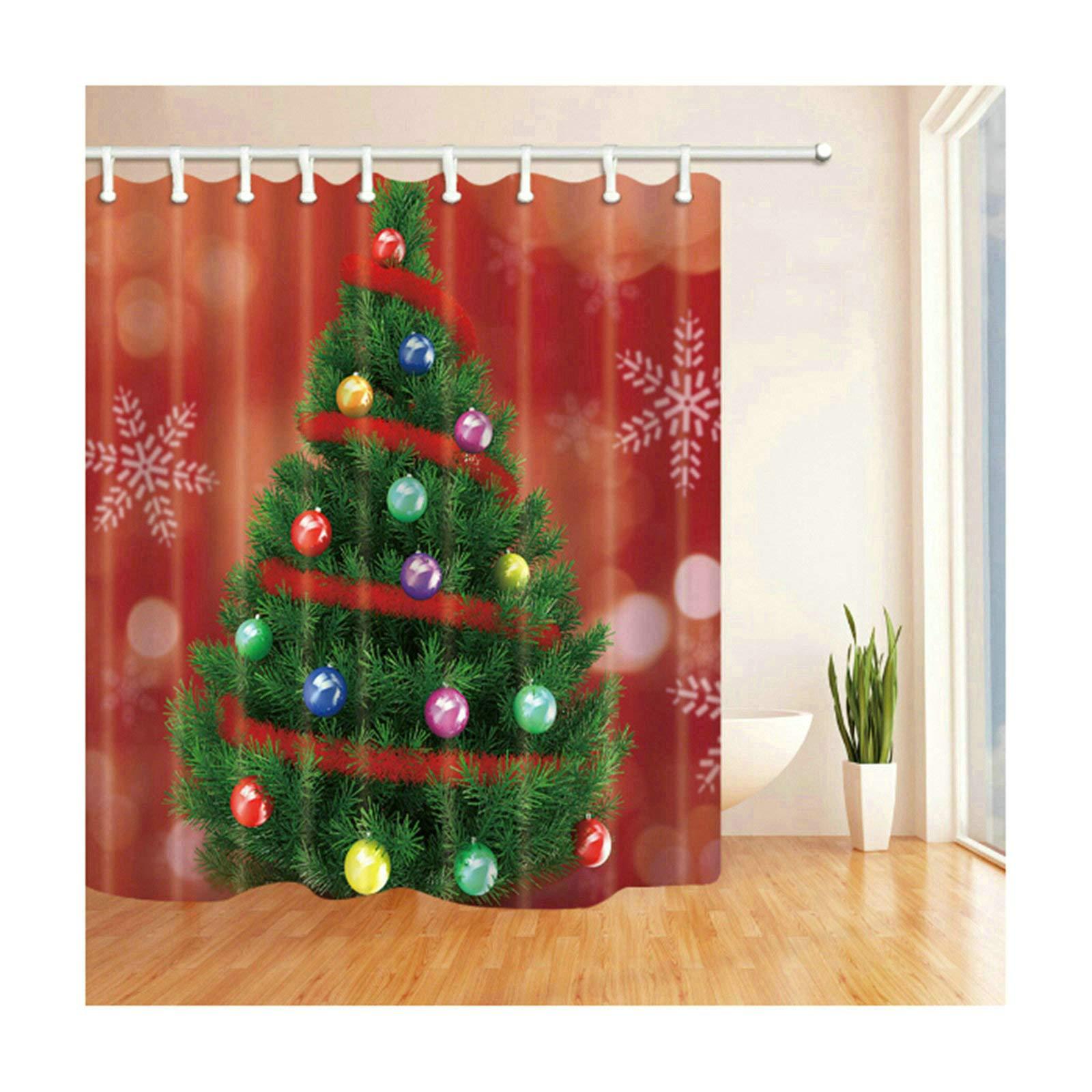 Coniea - Mampara de Ducha con Fondo Rojo, árbol de Navidad ...