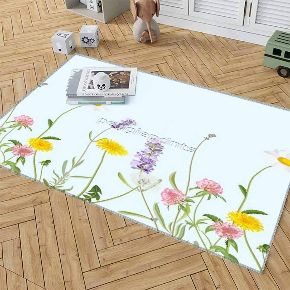 Timbersco Area Rugs Pastel Cyan Wildflower C Baby Rug for Denver Ranking TOP11 Mall Dreams