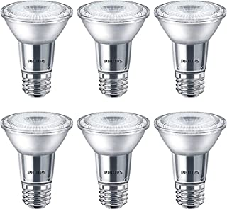 Philips LED PAR20 Bright White Light Bulb: 400-Lumen, 3000-Kelvin, 6-Watt (50-Watt Equivalent), Glass, Dimmable 40-Degree Spot Light Bulb, E26 Base, 6-Pack