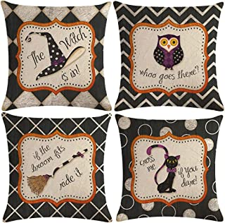 ULOVE LOVE YOURSELF Black Halloween Decor Pillow Covers with Cute Cartoon Cat/Owl/Witch Hat/Broom Pattern Pillow Case Decorative Pillow Cushion Cover 18 x 18 Inches,Set of 4