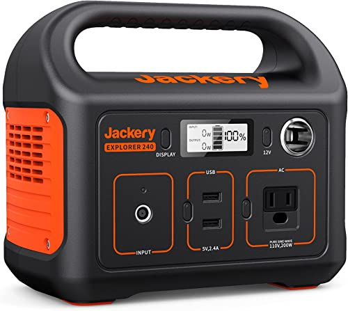 Jackery Portable Power Station Explorer 240, 240Wh Backup Lithium Battery, 110V/200W Pure Sine Wave AC Outlet, Solar ...