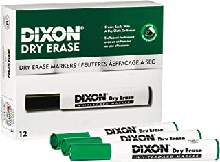 DIXON Dry Erase Markers, Wedge Tip, Green, 12-Pack (92104)