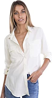 CAMIXA Womens 100% Silk Blouses Ladies Shirt Casual Pocket Button up Elegant Top