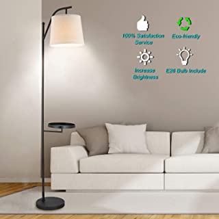 Shalomlite Led Floor Lamp, Modern Standing Industrial Arc Light with Hanging Lamp Shade, Tray Tall Pole Lamp, Reading Tall Floor lamp for Living Room, Bedroom, Office - with E26 LED Bulb