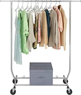 Sable Garment Rack, Multi-Function Commercial Grade Clothes Rolling Rack 330 lbs Load on 4 Wheels, Easy to Assemble, Comes with Free Foldable Storage Box, Heavy Duty Steel - Chrome