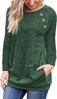 Meyeeka Womens Crew Neck Long/Short Sleeve Button Decor Casual Blouse Tunic with Pocket