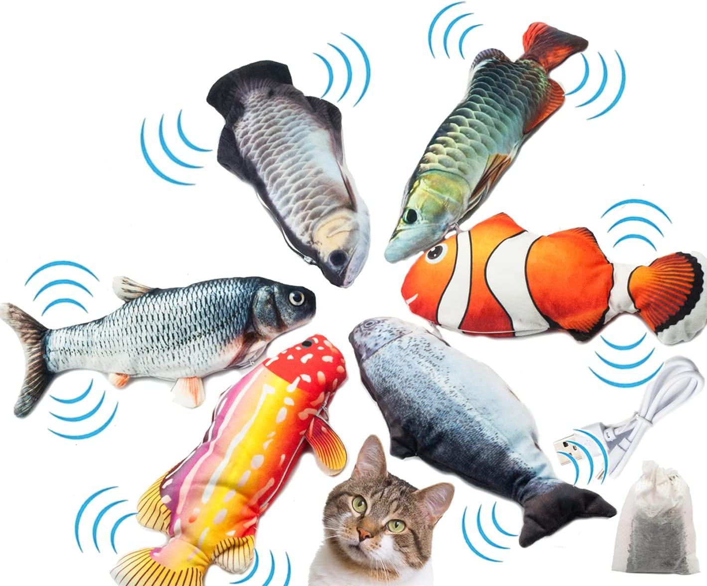Fashion's Talk Electronic Dancing Fish with Toys Chicago Mall Wir Cat Feather Limited time trial price