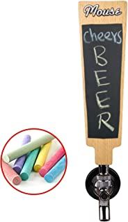 Red Oak Tools Carved Beer Tap Handle with Chalkboard and Replaceable header sticker (7.9'' Tall)- Universal Connection for Homebrewers and Busy Commercial Bars- Chalk Set Included