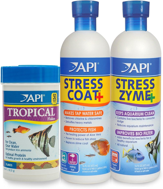 API Aquarium Water Conditioner & Tropical Food Bundle Pack