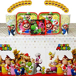 Super Mario Brothers Party Supplies Pack for 16 Guests: Stickers, Dessert Plates, Beverage Napkins, Cups, and Table Cover