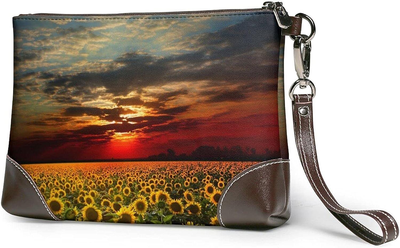 Sunset Sunflower Ladies Leather-Handbag Max 54% OFF Real Cowhide Wris Popular Design