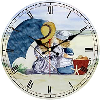 MEISTAR Cute Cartoon Style Wooden 14 Inch Wall Clocks,Quality Gift for Kids,Children and Friends,Roman Numerals Kids Room and Children Room Wall Clock