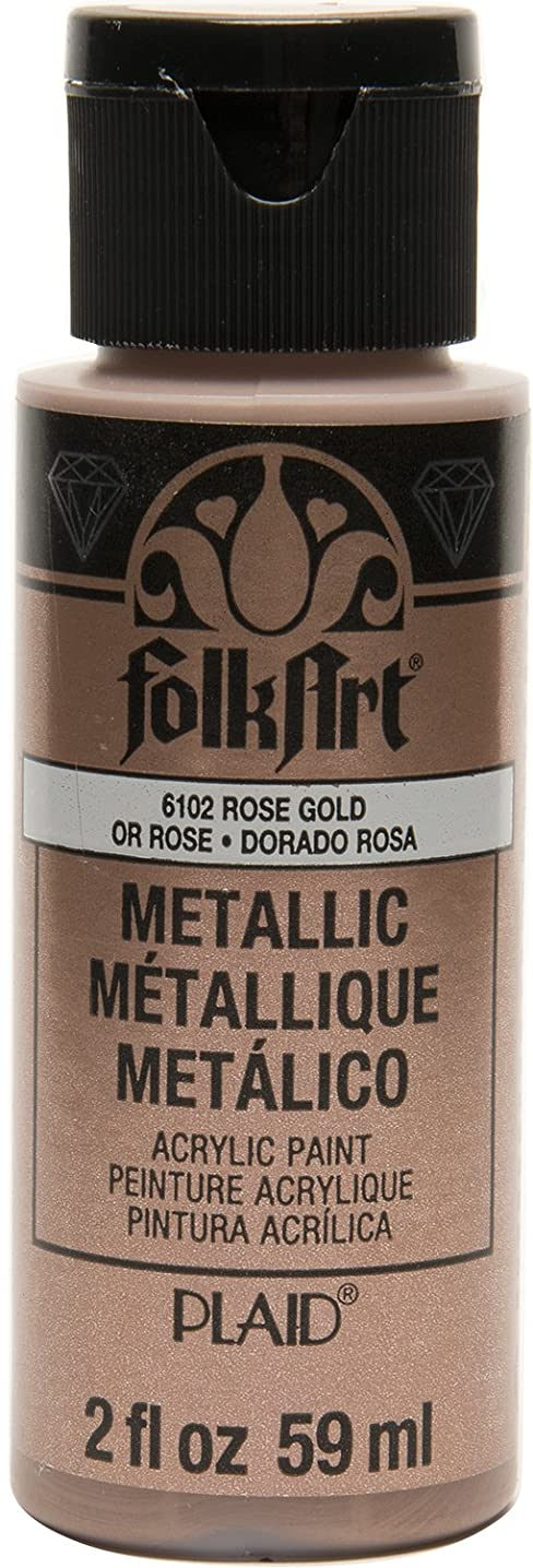 FolkArt Metallic Acrylic Paint in Assorted Colors (2 oz), 6102, Rose Gold
