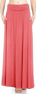 Fashion California FACA Womens 1& 2Pack Cintura Alta Shirring Maxi Falda con Bolsillos Laterales (S-XXXL)