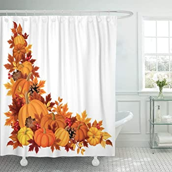 """Emvency Fabric Shower Curtain Curtains with Hooks Brown Thanksgiving Corner with Pumpkins and Autumn Leaves Colorful Border Fall Leaf Gourd November Season 72""""X72"""" Waterproof Decorative Bathroom"""