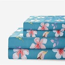 Bedlifes Floral Sheet Set King Size flower Sheets Deep Pocket Bed Sheets Flat Sheet& Fitted Sheet& Pillowcases 100% Microfiber 4PCS Drak Green King