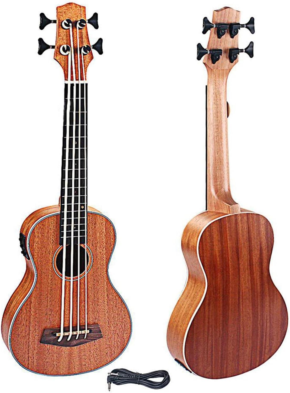 Kit Ukelele Ukelele Eléctrico De 30 Pulgadas EQ Bajo Sapele Retro Botón Cerrado Instrumento De Guitarra Eléctrica De Cuatro Cuerdas Concierto Ukulele