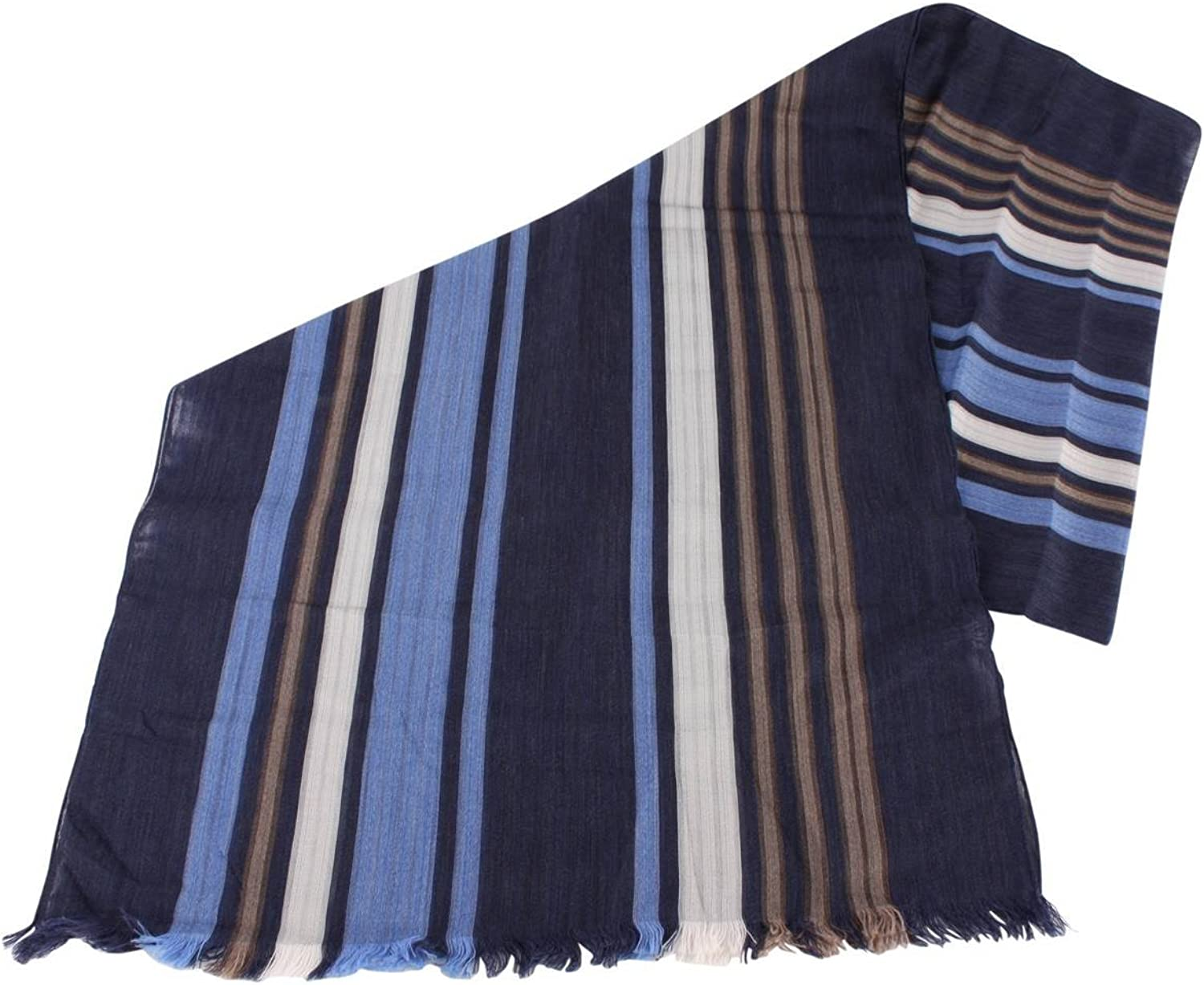 Bassin and Brown Womens Livingstone Large Stripe Cotton Scarf  Navy bluee Beige
