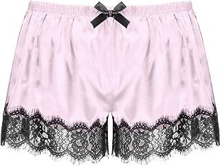 Kaerm Mens Smooth Silky Satin Lace Trim Shorts Sissy Lingerie Nightwear Pajamas Pants Bottoms