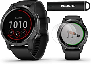 PlayBetter Garmin vivoactive 4 (Slate/Black Band) Fitness Smartwatch Power Bundle | 2019 Model | with HD Screen Protectors (x4) Portable Charger | Spotify, Music, Garmin Pay, Health Monitoring