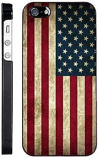TeleSkins Black Plastic Case for iPhone Se / 5 / 5S - Grunge USA American Flag - Ultra Durable Slim/Hard Plastic Protective Vibrant Snap on Designer Back Case/Cover