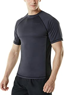 TSLA Men's UPF 50+Swim Shirt Loose-Fit Swim Tee Rashguard Top
