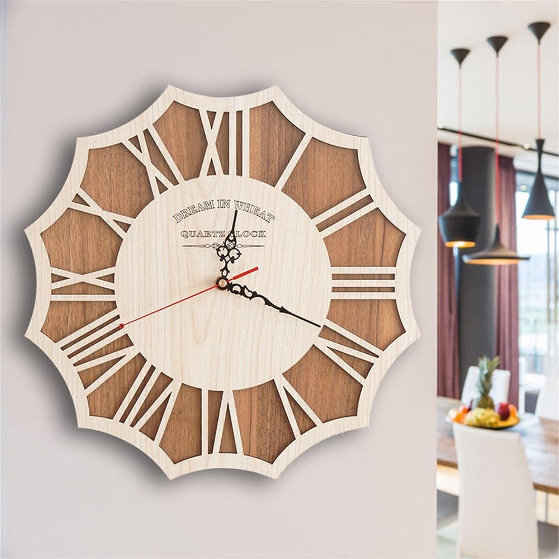 Obtén lo ultimo Lalapy Relojes De De De Parojo Reloj Extraíble Silenciosa Mute Modern Vintage Creativo De Hogar Decoración Ideal para La Casa Oficina Hotel Aula Reloj De Parojo Vintage De Reloj De Madera Creativo, 35Cm.  los nuevos estilos calientes