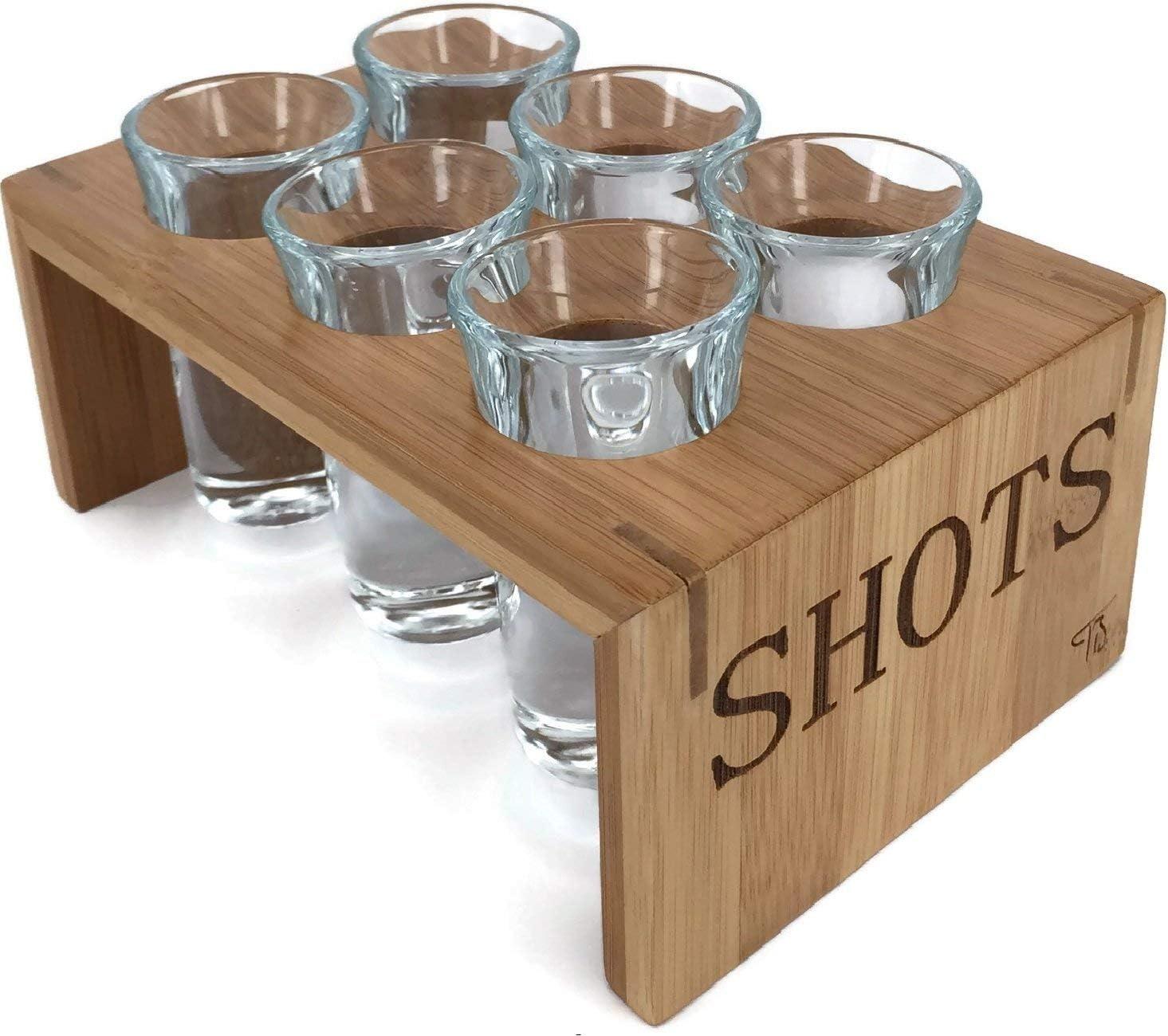 Trendy Bartender Shot Selling Glass Set Bamboo Glasses Popular standard 6 Ho