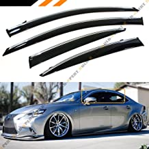 JDM VIP Smoke Tinted Chrome Trim Window Visor Rain Guard W/Clips Fits for 2014-2019 Lexus IS250 IS350 IS200t IS300