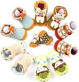 Chickwin, 5 Pares Bebé antideslizante Calcetines Algodón 0-12 Meses Respirable Calcetin Para Niños Niñas Cómodo Absorber el Sudor Suelta Plana