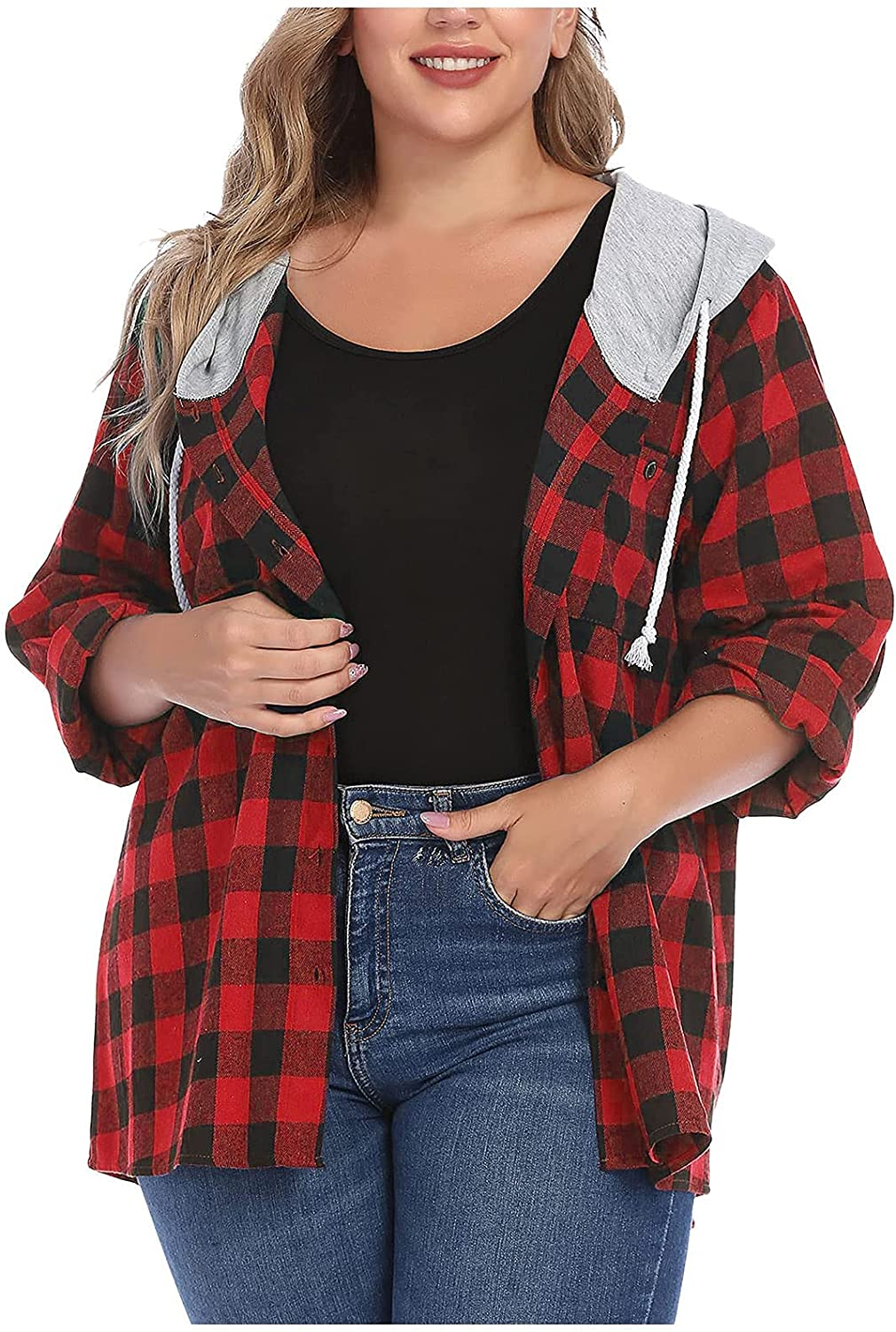 Women's Classic Plaid Hooded Jacket Plus Size Button Down Lightweight Coat Casual Hoodie Sweatshirts Pockets Coat