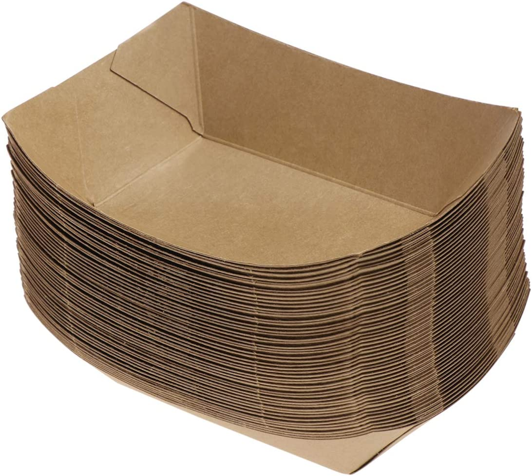 Today's only TOYANDONA 50PCS Kraft Super special price Paper Food Disposable Trays Oil Pap Proof