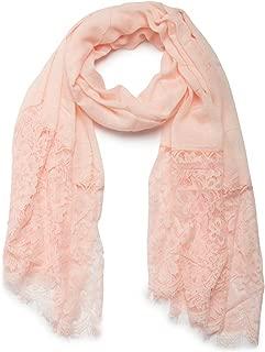 styleBREAKER unifarbener Schal mit Spitzen Besatz, Blumen Muster und Fransen, Stola, Tuch, Damen 01016112