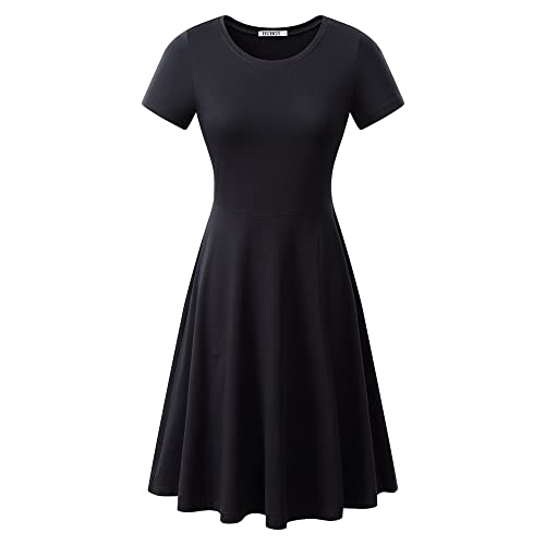 Black Short Sleeve Fit And Flare Dresses Amazon Com