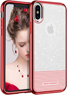 iPhone X Case Glitter, BENTOBEN Bling Sparkly Slim 2 in 1 Shockproof Hybrid TPU PC Dual Layer Stripes Design Protective Case for iPhone X 2017 Release (5.8 inch), Clear/Red