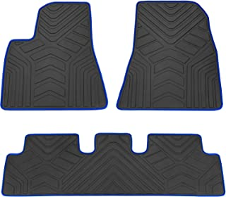 San Auto Car Floor Mats Custom Fit for Tesla Model 3 2017 2018 2019 Black Navy Blue Rubber Car Floor Liners Set All Weather Protection Heavy Duty Odorless