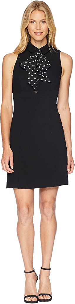 Sleeveless Collared Sheath Dress with Dot Bow