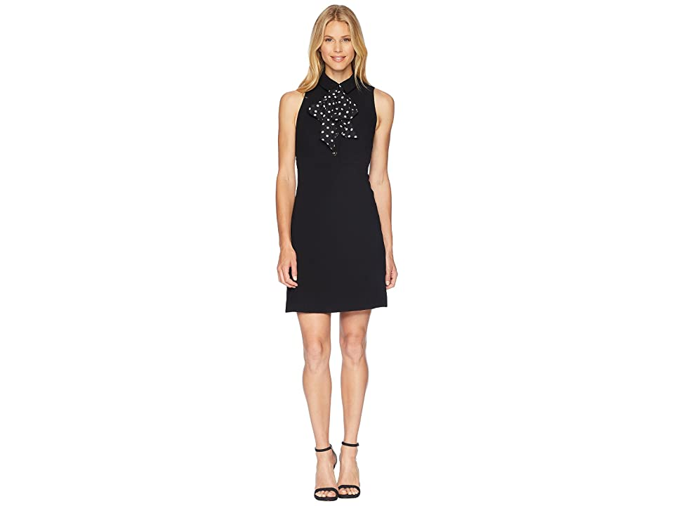 Tahari by ASL Sleeveless Collared Sheath Dress with Dot Bow (Black/Ivory) Women