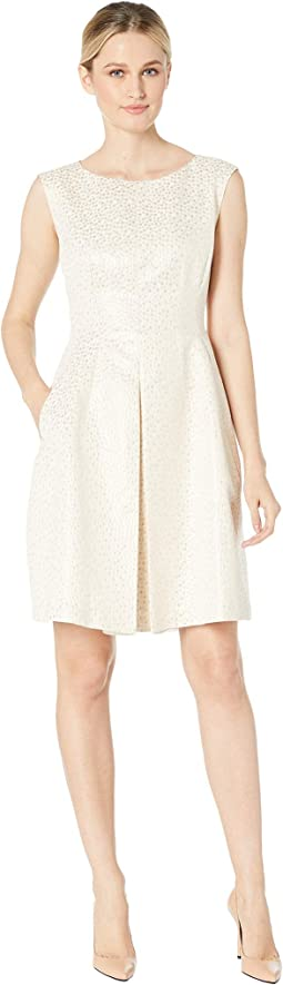 Dot Jacquard Inverted Pleat Fit & Flare