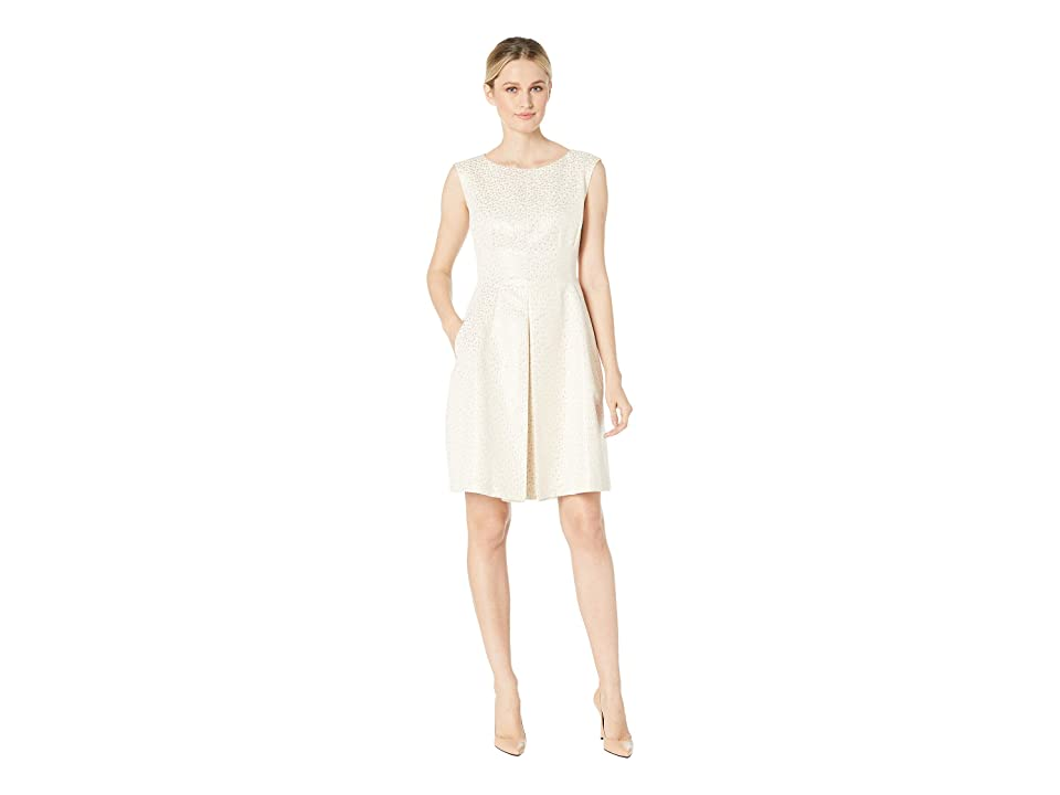 Anne Klein Dot Jacquard Inverted Pleat Fit Flare (Champagne/Gold) Women