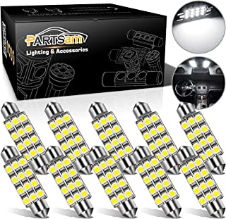 Partsam White 12-3528-SMD 42mm Festoon LED Bulbs Interior Dome Map Reading Lights (Pack of 10)