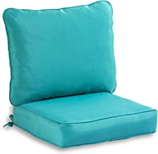South Pine Porch AM7820-TEAL Solid Teal 2-Piece Outdoor Deep Seat Cushion Set