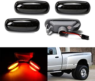 iJDMTOY Smoked Lens Amber/Red Full LED Trunk Bed Marker Lights Set For 2003-09 Dodge RAM 2500HD 3500HD Truck Double Wheel Side Fenders, Powered by Total 48 LED