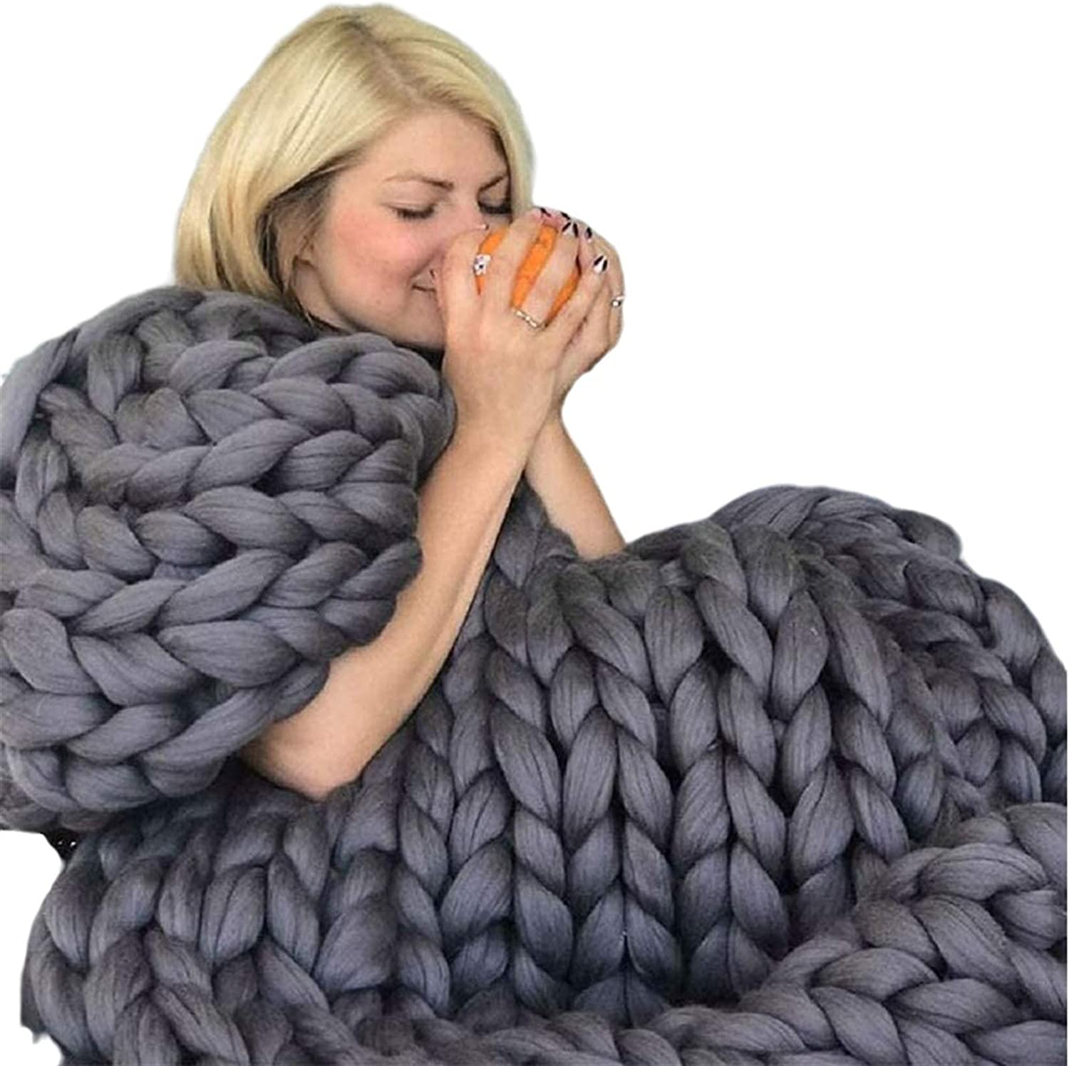 YXYH Handmade Thick Chunky Knit Challenge the lowest price of Japan Thr Max 53% OFF Knitting Blanket Bulky Large