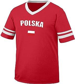 Poland Polska Country Flag Men's Retro Soccer Ringer T-shirt, Amdesco